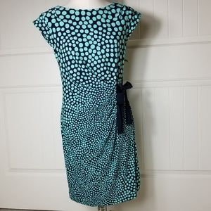 Just Taylor Navy & Aqua Polka Dot Midi Dress 10